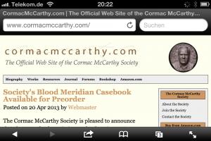 Screenshot der Stiftungswebsite des öffentlichkeitsscheuen Cormac McCarthy