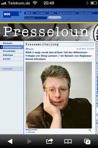 Larsson auf wdr.de: Engagierter Antifaschist und Bestsellerautor