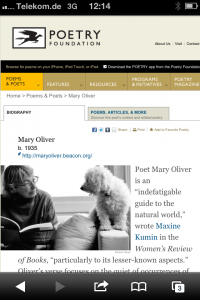 "Mary Oliver auf ""poetryfoundation.org"""